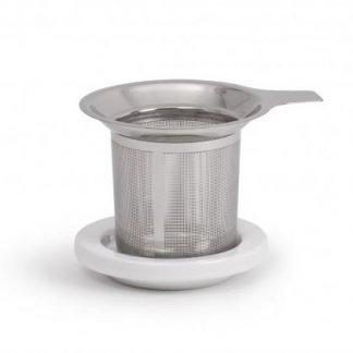 Tea Infuser/Strainer Basket ~ with Ceramic Lid/Stand